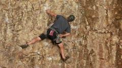 Man rock climbing Maple Box Canyon Utah HD 2695 Stock Footage