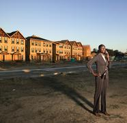 African American businesswoman at residential construction site Stock Photos