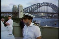 Arrival of the QE2 in Sydney Harbor, bridge of QE2, Captain, Sydney Harbor Stock Footage