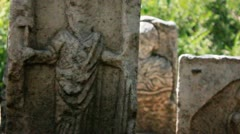 Mediaeval Gravestones at the Castle of the Knights of St. John in Bodrum, Turkey Stock Footage