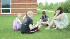 Teaching class outside outdoors - stock footage