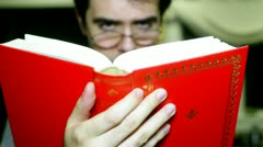 Rading read book Stock Footage