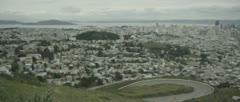 San Francisco City Skyline Buildings Pan Rack Focus From Twin Peaks 4k Red One - stock footage
