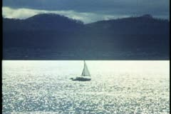 Backlite cover and sailboat near Hobart in Tasmania, Australia Stock Footage
