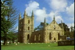 Port Arthur prison colony ruins, wide shot of chapel, no people, Tasmania, Stock Footage