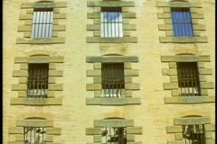 Port Arthur prison colony ruins, medium close up, barred windows, Tasmania, Stock Footage