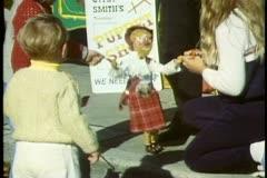 Tasmania, Sunday street market, marionettes, kids, Hobart, Australia Stock Footage
