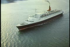 QE2 aerial, wide shot, passing overtop Stock Footage
