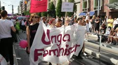 Young feminists at Stockholm gay pride Stock Footage
