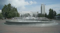 Krasnoyarsk City Fountain 01 Stock Footage