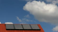 Solar cells on a roof - stock footage