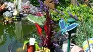 German garden pond Stock Footage