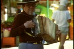 Adelaide, Australia, downtown, Rundle Mall, close up accordion player Stock Footage
