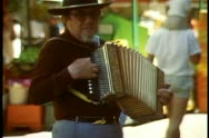 Stock Video Footage of Adelaide, Australia, downtown, Rundle Mall, close up accordion player