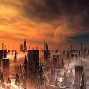 alien city, artwork - stock illustration