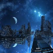 Alien city, artwork Stock Illustration