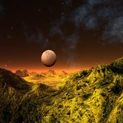 alien planet, artwork - stock illustration