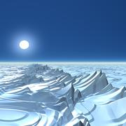 icy alien planet, artwork - stock illustration
