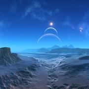 alien planet, artwork - stock illustration