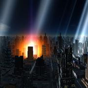 meteor shower over alien city, artwork - stock illustration