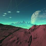 Ufos over an alien planet, artwork Stock Illustration