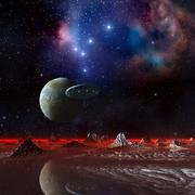 Ufo over an alien planet, artwork Stock Illustration
