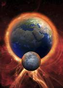 Solar flare hitting earth, artwork Stock Illustration