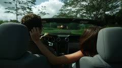 Couple in a convertible Stock Footage