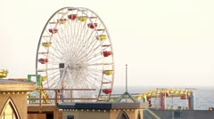 Famous Ferris Wheel at Santa Monica Pier Stock Footage