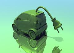 electric car, conceptual artwork - stock illustration