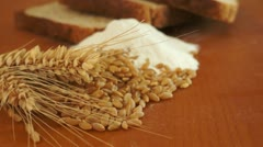 Wheat Grain Flour Bread Dolly Shot Stock Footage
