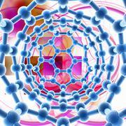 carbon nanotube, artwork - stock illustration