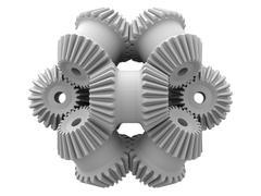 gear wheels, artwork - stock illustration