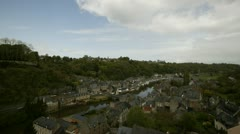Aerial view of river town Stock Footage