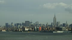 New York City skyline from harbor Stock Footage