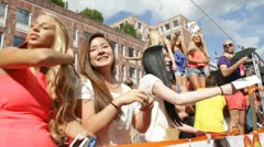 Young people on Float at Stockholm Gay Pride 2012 Stock Footage