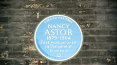 Blue Plaque to Nancy Witcher Astor, Viscountess Astor Stock Footage