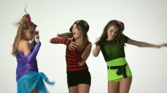 Teenage girls in costume dancing Stock Footage