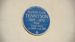 Blue plaque to Alfred Lord Tennyson, 1st Baron Tennyson Stock Footage