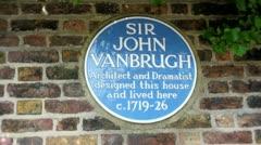 Blue plaque to John Vanbrugh Stock Footage