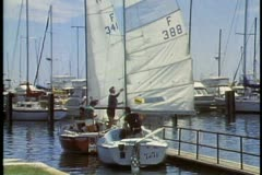 Two sailboat at dock in Perth, Australia. Stock Footage