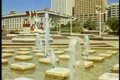 Adelaide, Australia, downtown, arts center, fountains, wide shot Stock Footage