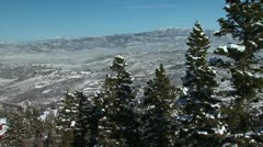 Aerial pan of snowy mountains Stock Footage
