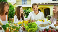 Parents Providing Daughters Healthy Lunch Stock Footage