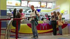People inside fast food restaurant Stock Footage
