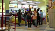 Stock Video Footage of People inside fast food restaurant