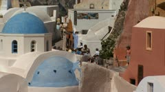 A group of tourists in Santorini Stock Footage