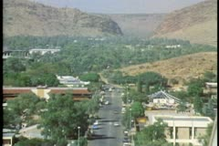 Alice Springs, overhead shot of main street, The outback of Australia Stock Footage