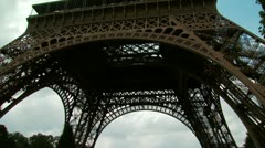 Upward tilt of the Eiffel Tower Stock Footage