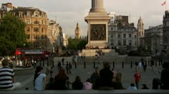 Slow pan of Trafalgar Square and the bottom of Nelson's Column Stock Footage